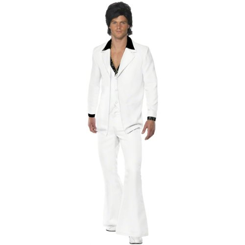 [Smiffy's Men's 1970's Suit Costume, Jacket With Mock Shirt and Waistcoat and pants, 70 Disco, Serious Fun, Size M, 39427] (Mens Disco Pants Costume)