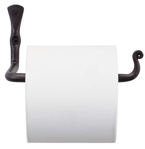 RTZEN Straight Decorative Toilet Paper Holder | Decorative Wrought Iron Handmade Black TP Roll Hanger Décor | Wall Mount Easy Installation