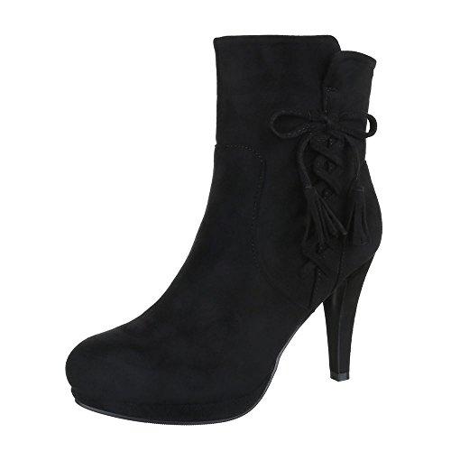 Mujer Design negro Ital Botas plisadas fSHFFCnxT