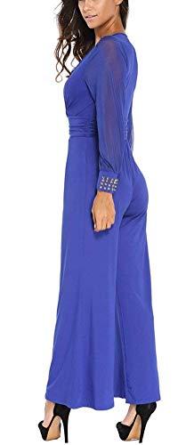 Printemps Romper Unicolore Élégant Rouge Automne Manches Long Fashion Vintage Wide Combinaison Loisir V Jumpsuits Garçons Onesie Longue Femme Pantsuit cou Leg Pants Classique 1fq55n