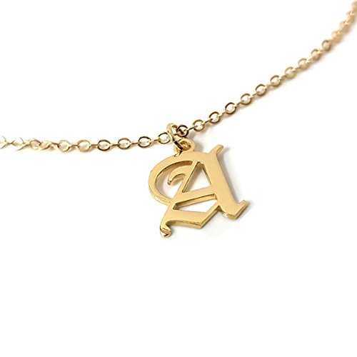- Beleco Jewelry Old English Initial Necklace Sterling Silver Or Gold/Rose Plated 18k