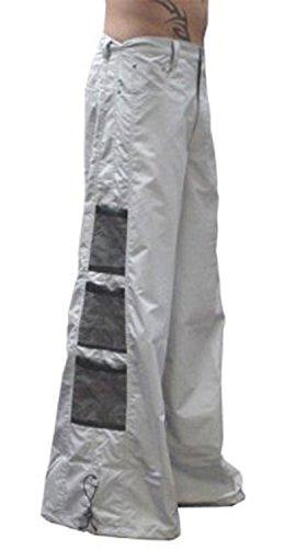 Ufo Pants (Ghast Unisex Cargo Drawstring Wideleg Mesh Pocket Rave Dance Pants, Light Gray 38 Inch Waist)
