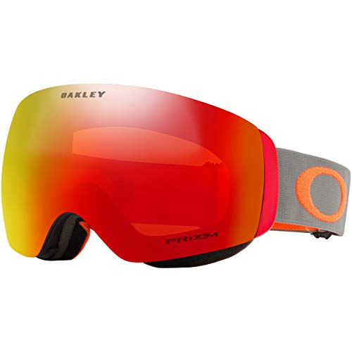 Oakley Flight Deck XM Adult Snowmobile Goggles - Dark Brush Orange/Prizm Torch Iridium/Medium