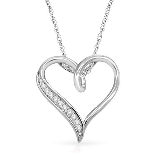 NATALIA DRAKE Holiday Special- Sterling Silver 1/10ctw Diamond Heart Pendant Necklace