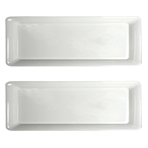 Party Essentials White Hard Plastic Sleek Appetizer/Serving Trays, 15.75