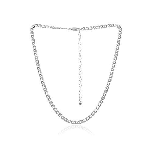 Sea of Ice Sterling Silver 4mm Love Link Heart Chain Necklace, Size 14