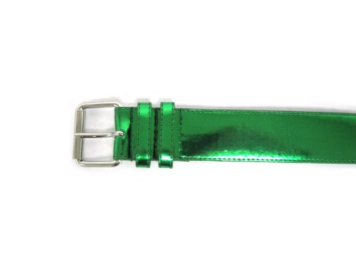 Women's Patent Leather Metallic Sheen Classic Neon Bright Spring Belt (Green). - Floral Patent Belt