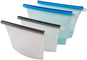 Reusable Silicone Storage Bags,Reusable Ziplock Bags,Food Bags of Lunch and Snack,Waterproof,Leakproof and BPA...