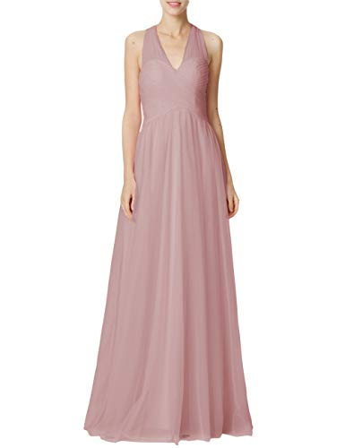 Bridesmaid Dresses Long Halter Evening Gowns Wedding Party Prom Dress Maxi Tulle V-Neck Pleating Dusty Rose US28W