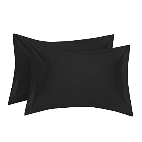 uxcell Pillow Shams Oxford Pillow Cases Egyptian Cotton 300 Thread Count Solid/Plain Pattern Black 20 x 26 Inch Set of 2