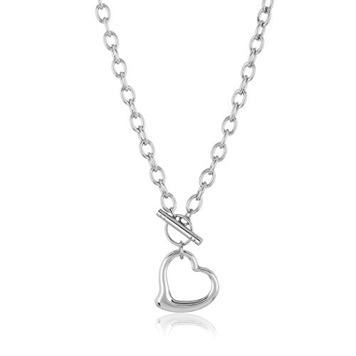 ELYA Stainless Steel Cable Chain Open Heart Toggle Necklace ()