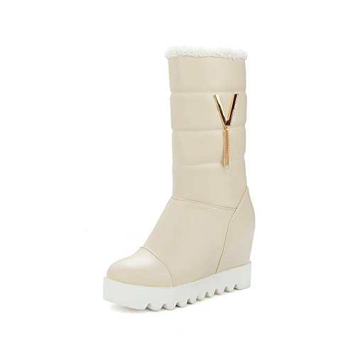 Metal BalaMasa Round Platform Chain Boots Imitated Stiletto Toe Leather Womens Beige 5rrqWF