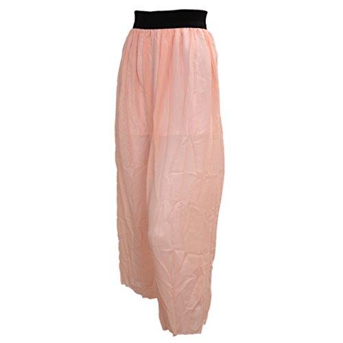 TOOGOO(R) Jupe Longue en Mousseline de Soie Femmes Cheville Longue Taille Elastique Jupe Plissee Beige Peachy