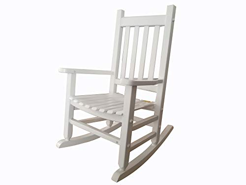 rockingrocker - K086WT Durable White Child's Wooden Rocking Chair/Porch Rocker - Indoor or Outdoor - Suitable for 4-8 Years Old ()