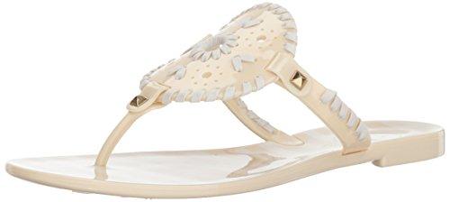 Jack Rogers Women's Striped Georgica Jelly Flat Sandal Bone/White LJZwz9s3