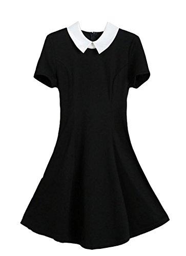 [XQN Women's Summer Doll Collar Slim Ruffle Frill Tunic Pleated Dress (Black, Medium)] (Courtney Love Costume)