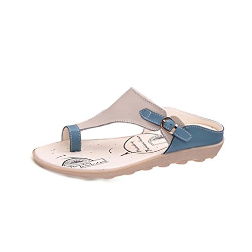 Blue Flat Flops Niceful Summer Low Buckle Sandals Flip Casual Clip Womens Heel Adjustable Toe O5wqSwRZ