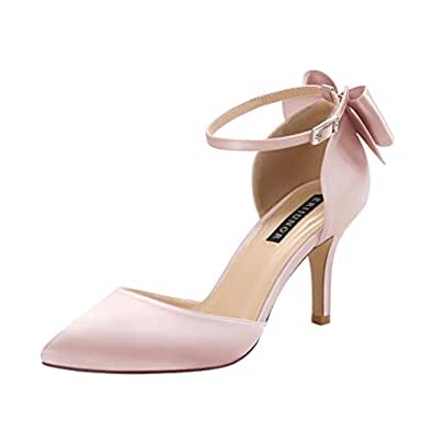 ERIJUNOR Wedding Evening Party Shoes Comfortable Mid Heels Pumps with Bow Knot Ankle Strap Wide Width Satin Shoes Pink Size: 5.5