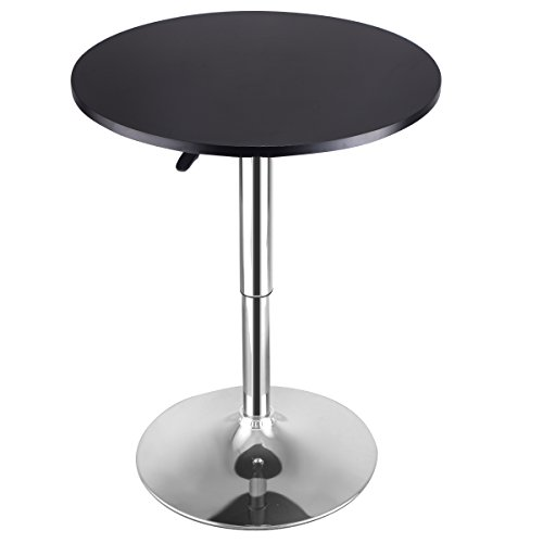 Costway Modern Round Bar Table Adjustable Bistro Pub Counter Wood Top Swivel Indoor (1) (Tables Bar And Pub)