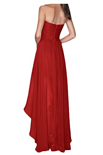 Fashion Weinrot Traegerlos Lang Lo Hi Festkleider Bride Abendkleider Ballkleider Chiffon Gorgeous vw65ApBq6