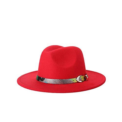 Sunshinejourney Wool Women's Black Fedora Hat Lady Wool Wide Brim Jazz Church Cap