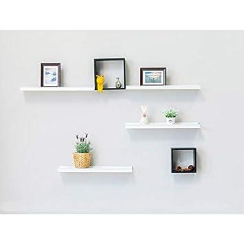 Muzilife Wandregal 2er Set 90x12cm bis10kg/15kg Weiße Holz Hängeregal  Vintage Schweberagal für Bilderrahmen, Bücher, Küche, Bade-, Kinderzimmer