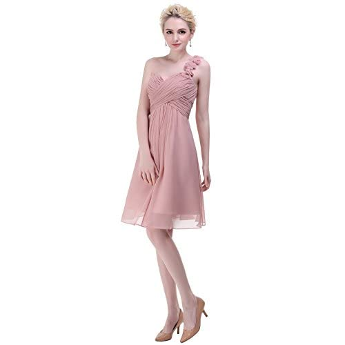 esvor Flowers One Shoulder Padded Ruffles Short Prom Party Bridesmaid Dress supplier
