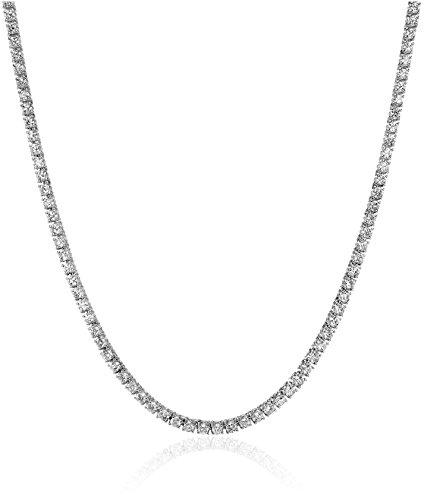 Gold Diamond Tennis White Necklace - IGI Certified 14K White Gold Diamond Tennis Necklace (7.00 cttw, I-J Color, I1-I2 Clarity), 17