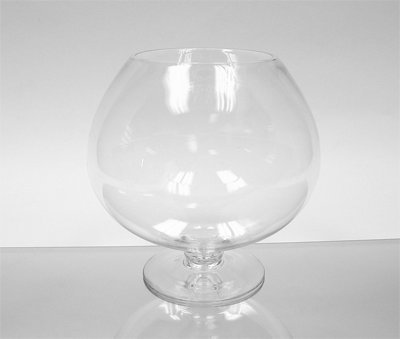 (WGV Clear Brandy Wine Shaped Bubble Bowl Glass Vase on Stand,)