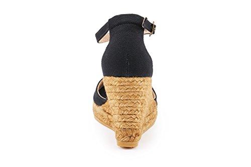 Visata Aiguafreda 3 Zeppa, Tela Morbida, Cinturino Alla Caviglia, Punta Aperta, Tacco Espadrillas Made In Spain Black
