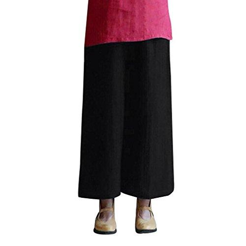Pervobs Women Pants, Clearance! Women Loose Elastic Waist Plain Harem Pants Wide Leg Baggy Linen Pants Trouser (3XL, Black)
