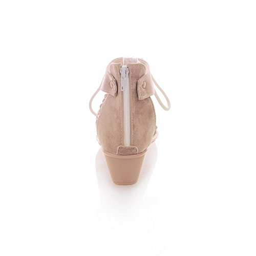 Amoonyfashion Mujeres Zipper Split Toe Low-heels Imitated Suede Solid Flip-flop-sandals Beige