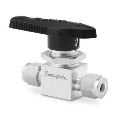 """Swagelok """"Whitey"""" SS-43VS4 Ball Valve, (2 Way), 1/4"""" Tube OD Compression, 500 psi, Stainless Steel"""