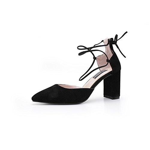 Suede Hebilla Tobillero Toe Heel Zapatos para UN Negro Summer Fall mujer el vestido Pointed Chunky SHINIK Heel de Correa Yqg7wOYt