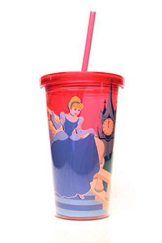 Disney Silver Buffalo DQ73087 Princess Cinderella Midnight Plastic Cold Cup, 16 oz, Multicolor