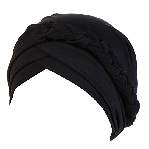 Dressin Muslim Caps Women's Elegant Stretch Flower Solid Color Turban Chemo Cancer Cap Hat Headwear Black]()