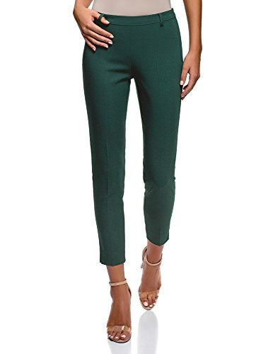 oodji Collection Women's Slim-Fit Trousers with Side Zipper, Green, 10 (Best Trousers For Pear Shaped)