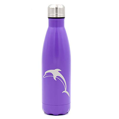 MIP Brand 17 oz. Double Wall Vacuum Insulated Stainless Steel Water Bottle Travel Mug Cup Dolphin (Purple)