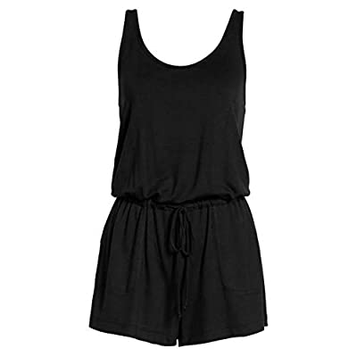 REORIA Womens Summer Scoop Neck Sleeveless Tank Top Short Jumpsuit Rompers: Clothing