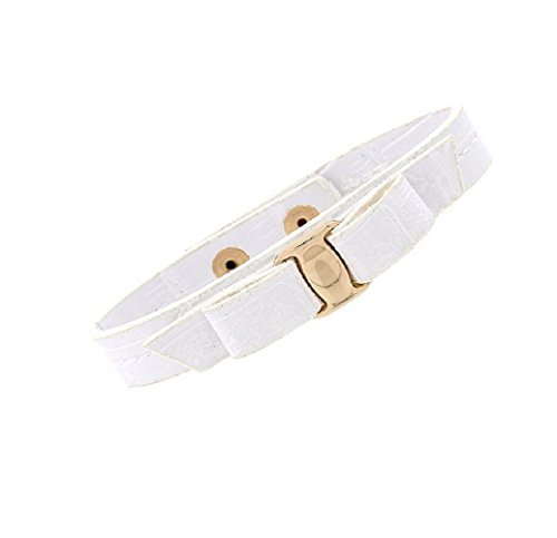[Yuriao Jewelry Fashion Metal Texture Punk White Leather Bracelet] (Color Guard Costumes Rental)