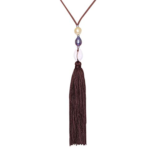 AUSIKA Pearl Shell Necklace on Genuine Velvet Cord with Handmade Long Vintage Tassel Pendants Women 41'' ()