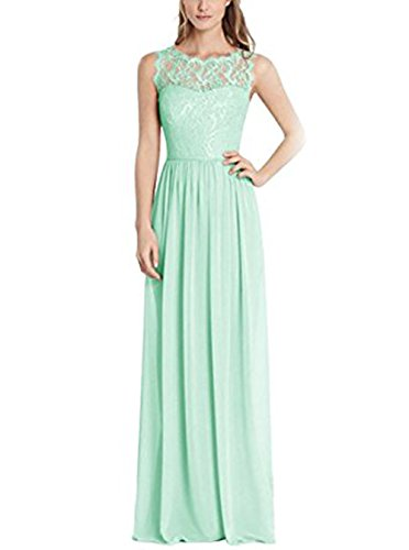 Vickyben Damen langes hoch Ausschnitt Spitzen A-linie Chiffon Abendkleid Hochzeit Kleid Ballkleid brautjungfer Kleid Party kleid Mint X1MXi