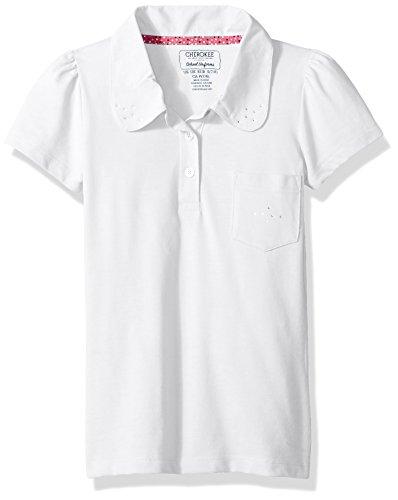 Cherokee Girls Uniform-Short Sleeve Polo with Lace Pocket /& Collar
