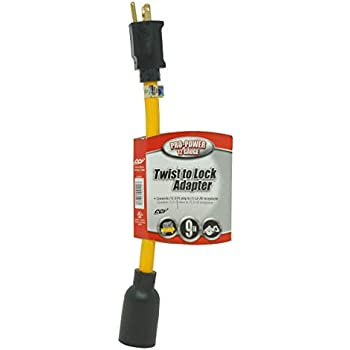 1-Foot Blue with Yellow Stripe Voltec 04-0093N 12//3 STW U-Ground Plug to Locking Connector Adapter