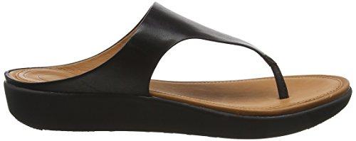 Leather Toe Negro Mujer Banda 001 Thong II Fitflop Black para Sandalias con Abierta Sandals Punta 7qXpwECwx