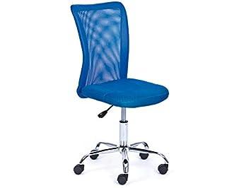Inter Link Chaise De Bureau Enfant Pietement Metal Revetement Tissu Mesh Bleu