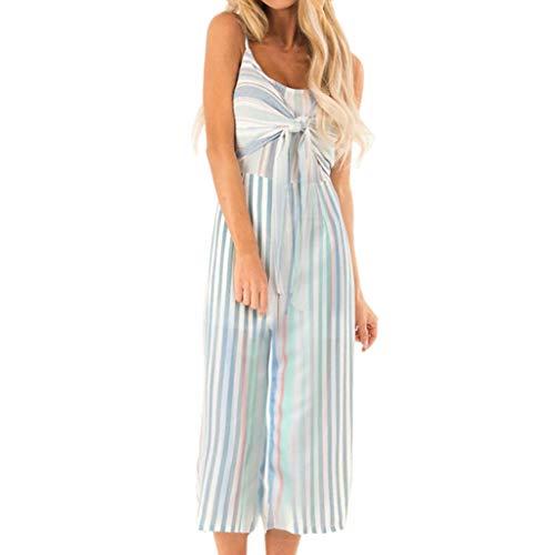 Women's Printing Off-Shoulder Long Rompers Jumpsuit Playsuit L&ANJUNIE(Blue,L)