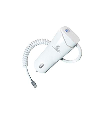 Accede Duetox 2.4A Rapid Car Charger with Retractable Cable for All Micro USB Mobiles   Tablets  White