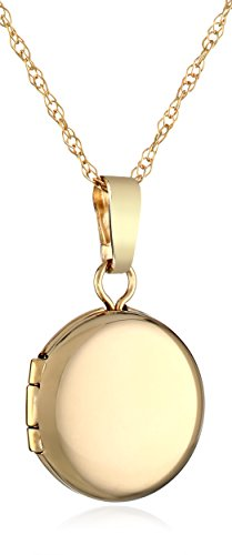 14k Gold Locket - Girls' 14k Yellow Gold Petite Round Polished Locket Pendant Necklace, 13