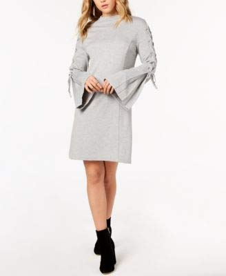 KENSIE Women's Bell-sleeve Lace-up Ponte-knit Shift Dress